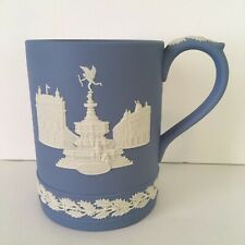Wedgwood Christmas 1971 Pale Blue Jasperware Mug Stein Piccadilly Circus England