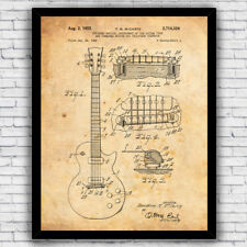 Gibson Les Paul Electric Guitar Musical Patent Art Print, Size and Frame Options