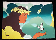 "1970s HAWAII SILKSCREEN PRINT 5/250 ""WOMAN & BUTTERFLY"" by JIM WALSH (Ger)"