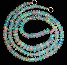 44cts;17''3-6MM SUPER ELECTRIC FIRE FLASHING ETHIOPIAN OPAL FACETED BEADED NECK.