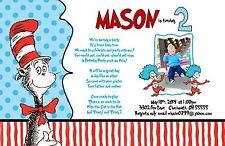 Dr. Seuss Custom Designed Birthday Party Invitation Add Photo Polka Dots