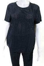 Equipment Femme Womens Open Embellished Short Sleeve Blouse Blue Silk Size XS