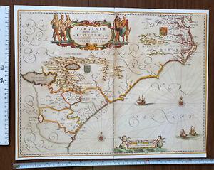 Antique vintage Old Colour Picture Map Virginia & Florida 1600's: REPRINT Blaeu