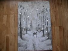 NEXT GLITTER DEER STAG WITH 3D TWINKLING LIGHT CANVAS GREY SILVER