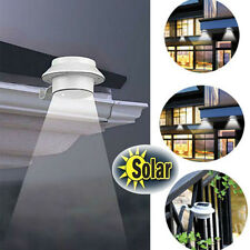 Solar Power Powered Outdoor Garden Light Gutter Fence LED Wall W/ Bracket White
