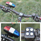 6 Bike Bicycle Police LED Light + 4 Loud Siren Sound Trumpet Cycling Horn Bell
