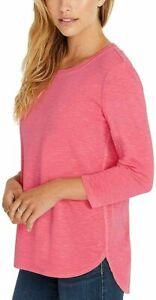 NEW!!! Kirkland Signature Women's Cotton 3/4 Sleeve Slub Tee (Coral & Medium)