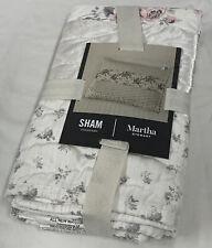 Martha Stewart Textured Floral Stripe Standard Sham White