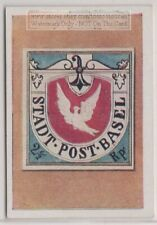 1930s Trade Ad Card - 1845 Basel Coat of Arms Postage Stamp