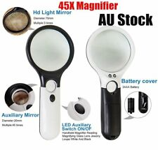 45X Handheld Magnifier Reading Magnifying Glass Jewelry Loupe With 3 LED Light A