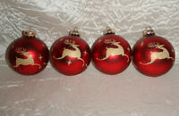 Vintage Rauch Glass Reindeer Ornaments Red Gold Lot of 4