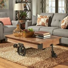 Coffee Table Cart Industrial Style Living Room Den Furniture Rustic Solid Wood