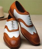 Handmade Leather two tone Brogue Brown and white leather shoes for men