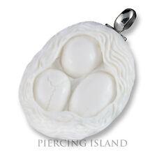 ECHT 925er Silber Bone Amulett Design Anhänger Eier im Nest Fruchtbarkeit PB339