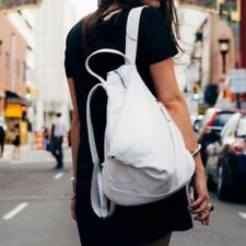 $240 Sticks + Stones Katio Moto Backpack White Real Leather Handbag Medium Size