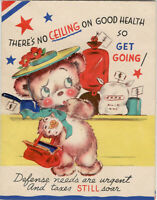 Cute Anthropomorphic Bear Get Well Vintage Greeting Card Rust Craft April 1944