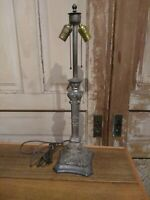 "ANTIQUE VICTORIAN ART NOUVEAU ART DECO LAMP Spelter Base 27"" tall for slag glass"