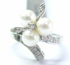 Fine Pearl Multi Shape Diamond White Gold Jewelry Ring 5.9mm .25CT