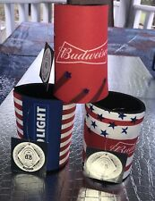 Budweiser Coozie Pack Of 3 Set 4th Of July Themed American Flag c4