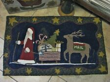 """PRIMITIVE RUG HOOKING KIT ON MONKS """"THE CHRISTMAS PARADE"""""""