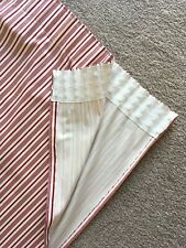 Red and Cream Cotton Stripe Pair of Pencil Pleat Curtains