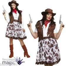 Womens Ladies Cowgirl Outfit Wild West Western Rodeo Fancy Dress Costume and Hat