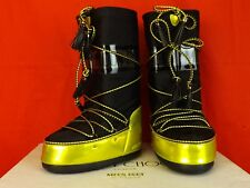 JIMMY CHOO YELLOW BLACK FABRIC LEATHER TALL MOON BOOTS 35 36 37 38 ITALY