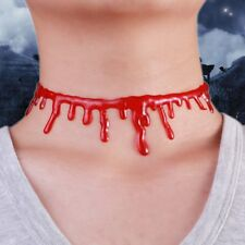HALLOWEEN BLOOD DRIP CHOKER CREEPY NECKLACE GOTHIC HORROR SLASH