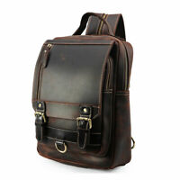 Men Leather Sling Bag Shoulder Sports Pouch Chest Pack Crossbody Small Backpack