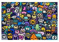 Kev Munday - CROWD vibrant colourful street art print poster A2 signed ltd ed.