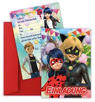 🐞 Ladybug Miraculous Einladungskarten Kindergeburtstag - 8 Stk. + 8 Ümschlägen
