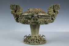 Chinese Beautiful Fine Bronze Dragon Dou Tableware
