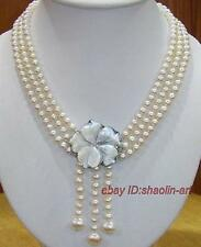 blanc,perles d'eau douce, coque en forme de fleur,fermoir,pendentif,collier,45cm