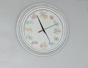 Wall Clock Decorative Plastic White