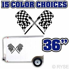 Checkered Race Flag Decal Trailer Graphic MX ATV Motocross Kart RV Track Car