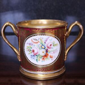 Large Staffordshire Porcelain Loving Cup with Hand-Painted Floral Decoration