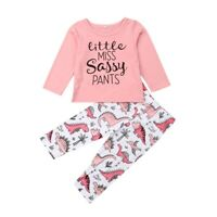 2Pcs Set Toddler Baby Girl T-shirt T Shirt + Long Pants Dinosaur Outfit Clothes