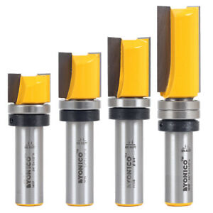"4 Bit 3/4"" Diameter Flush Trim Router Bit Set - 1/2"" Shank - Yonico 14426"