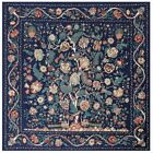 Fortune Tree GORGEOUS Floral Twill Silk Scarf Shawl Wrap Cover Up Square Scarves