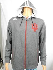 Adidas Indiana University Hoosiers Hoodie Grey Zip Front Thin Sweatshirt Sz L