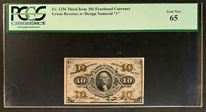 NQC Fr 1256 Third Issue 10C Fractional Currency - PCGS Gem New 65