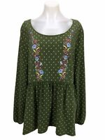 Matilda Jane Green Embroidered Long Sleeve Top Blouse Tunic Women's Size XXL