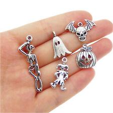 Pack of 12 Vintage Silver Metal Pumpkin Ghost Charms For Halloween Jewelry DIY