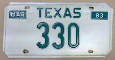 330  license plate from Texas 1983  original