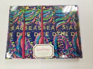 NWT Lilly Pulitzer 2 Sets 4 Cotton Cocktail Napkin Set Beach Loot Seas The Day