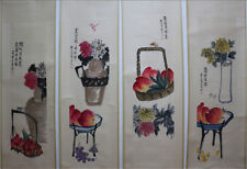 """Chinese 100% Hand Painting 4 Scrolls """"Plants & Animals"""" By Qi baishi 齐白石 309A"""