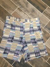 "Berle Plaid Patchwork Madras  Shorts Size 36 8.5"" Inseam Cotton Blend EUC"