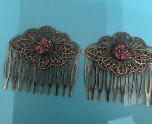 (2) Copper Glitter Cabochon Vintage Filigree Hair Combs
