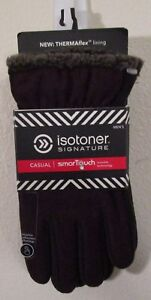 NWT Isotoner Signature Mens Casual SmarTouch Gloves L Port MSRP$50