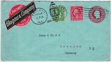 USA 1931, 2 Cent Ganzsachen-Umschlag mit ZuF und interess. Absenderaufkleber